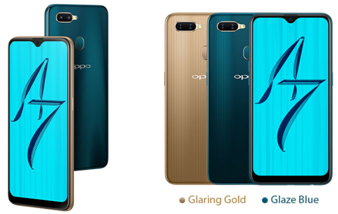 Oppo A7 warna gold dan blue